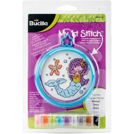"Bucilla My 1st Stitch 3"" Round Mini Mermaid Counted Cross Stitch Kit, 1 Each"
