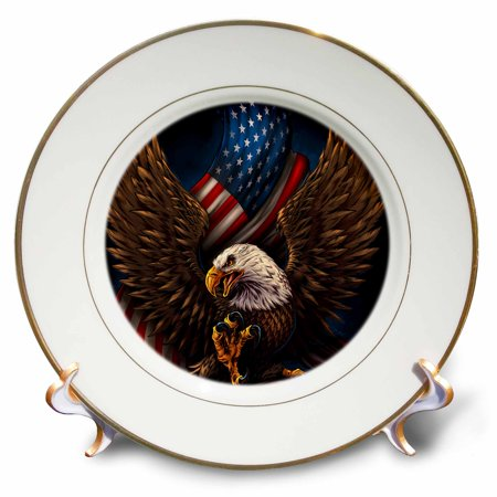 American Eagle Plate (3dRose Bald eagle with and American Flag between its talons - Porcelain Plate,)