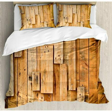 Ambesonne Wooden Lodge Style Teak Hardwood Duvet Cover Set