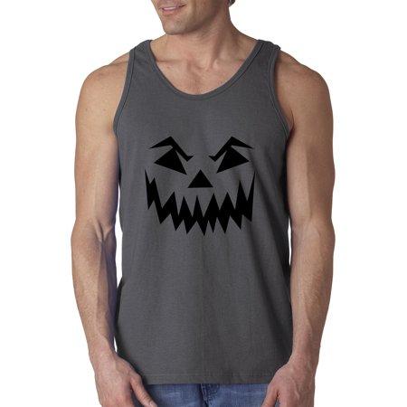 New Way 972 - Men's Tank-Top Scary Halloween Pumpkin Face Jack O Lantern 2XL Charcoal