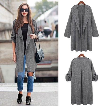 Women Slim Thin Outerwear Casual Lapel Windbreaker Cape Coat European Style Linen Cardigan Jacket