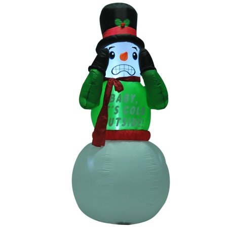 HOMCOM 7 Ft Tall Outdoor Animated Airblown Inflatable Christmas Lawn Decoration - Shivering Snowman