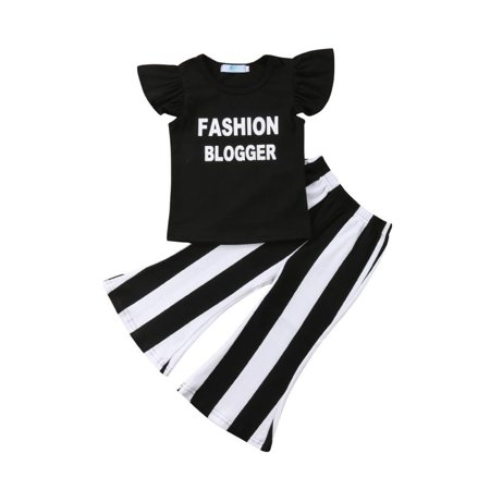 Fashion Party Cool Casual Ruffle Kids Baby Girls Shirt Tops + Long Slim Pants Outfits Clothes - Cool Kids Outfits