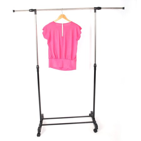 Zimtown Adjustable Rolling Clothes Rack Single-Bar Rail Hanging Garment Hanger Wheeled (Clothing Rack Hanger)