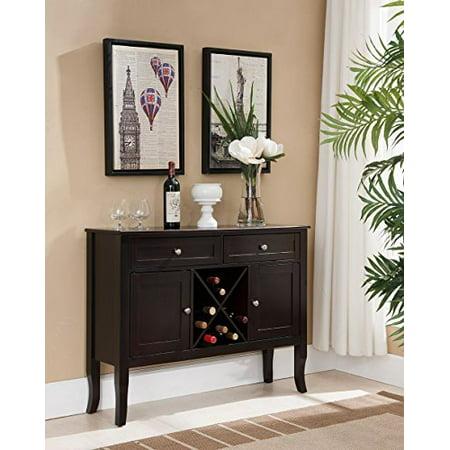 kings brand walnut finish wood wine cabinet breakfront buffet storage console (King Size Cabinet)