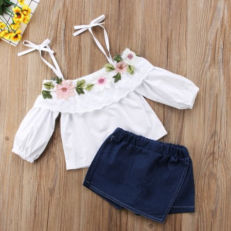 2pcs Toddler Kids Girls Flower Strap Tops Blouse Denim Shorts Outfits Set