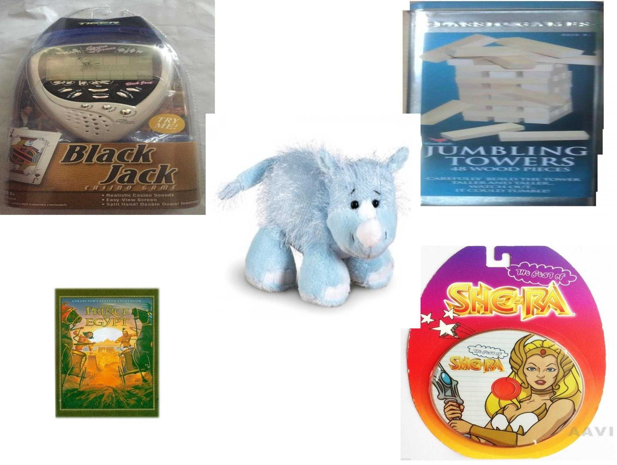 Children's Gift Bundle [5 Piece] - Black Jack Casino Handheld - Solid Wood  Jumbling Tower In A Tin - Webkinz Rhino - The Prince of Egypt - The Best of