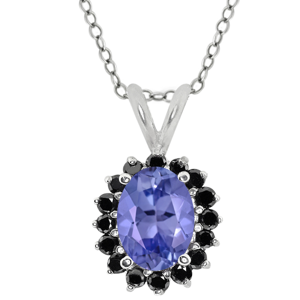 Oval Blue Tanzanite Black Diamond Sterling Silver  Pendant 1.48 Cttw With 18 Inch Chain