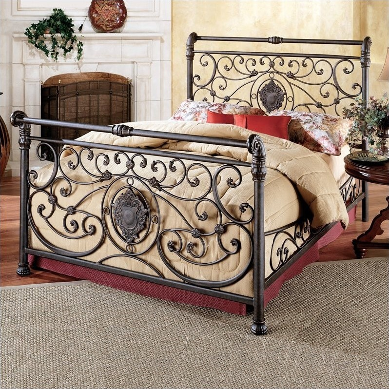 Hillsdale Mercer Metal Sleigh Bed in Antique Brown Finish-King