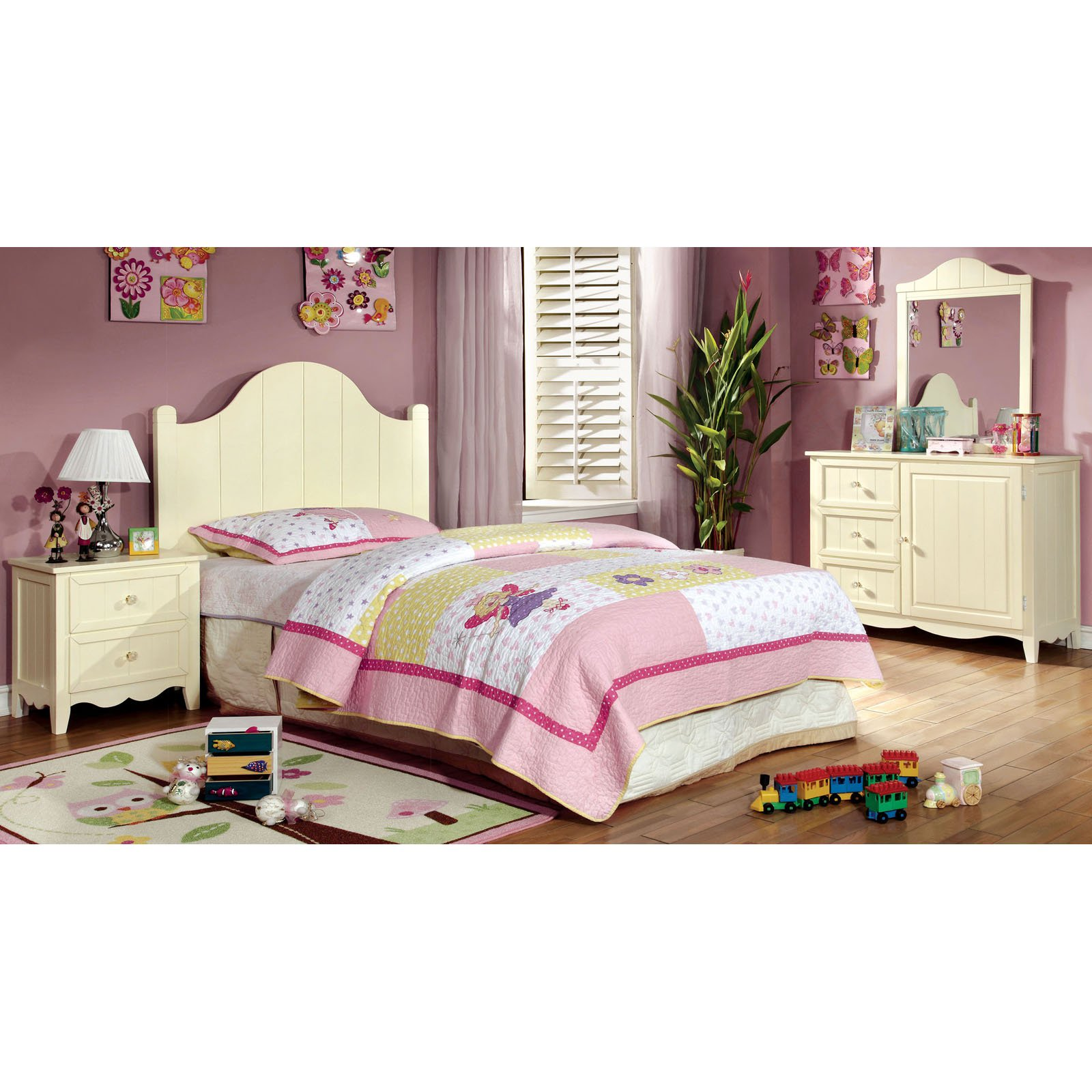Furniture of America Brooklyn Collection 4-Piece Twin Bedroom Collection - Cream