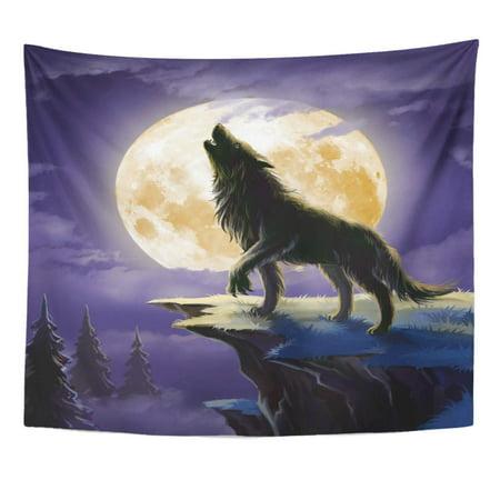 UFAEZU Fangs Wolf Werewolf Moon Forest Beautiful Dusk Fairy Fur Wall Art Hanging Tapestry Home Decor for Living Room Bedroom Dorm 51x60 inch - Werewolf Fur