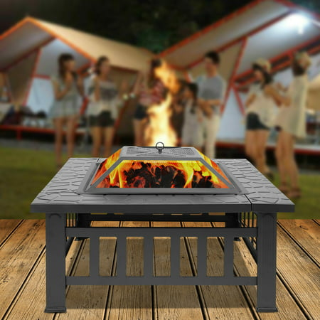 Wood Burning Fire Pit Tables, Heavy Metal Square Fire Pit with Mesh Screen Lid, Poker, Cover, Multifunctional Backyard Patio Garden Stove Fire Pit/Ice Pit/BBQ Fire Pit, Black Faux-Stone Finish, W6459 ()