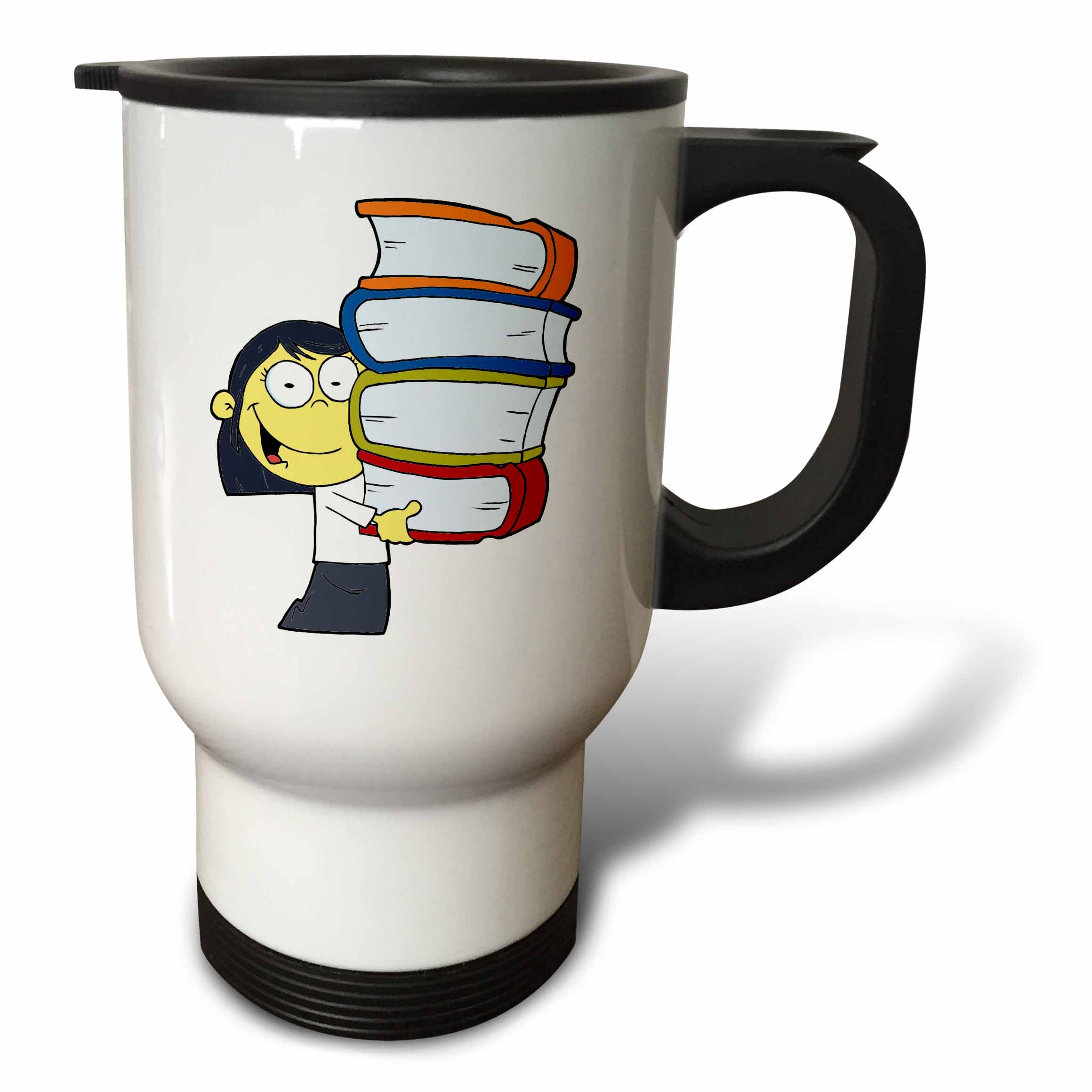 3dRose Cute Asian Girl Student With Lots Of Books, Travel Mug, 14oz, Stainless Steel