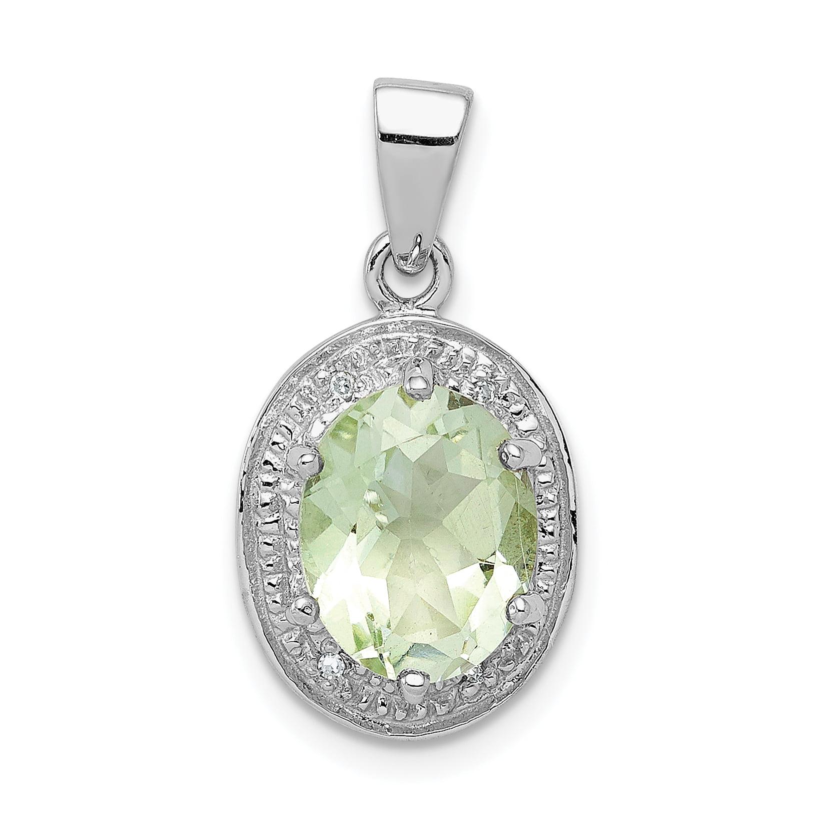 Sterling Silver Green Quartz Charm Pendant