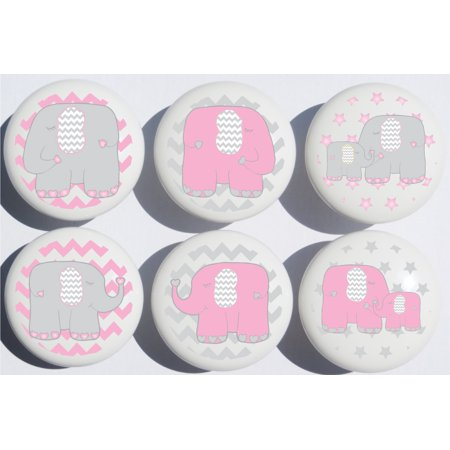 Pink Elephant Drawer Pulls Jungle Safari Nursery Decor Ceramic Cabinet S 6 Set