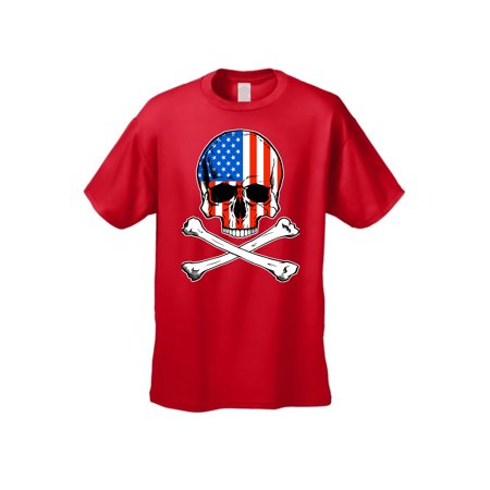 - USA Flag T Shirt Skull with Crossed Bones Men's Short Sleeve Tee