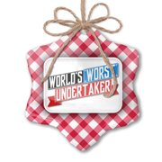 Christmas Ornament Funny Worlds worst Undertaker Red plaid Neonblond