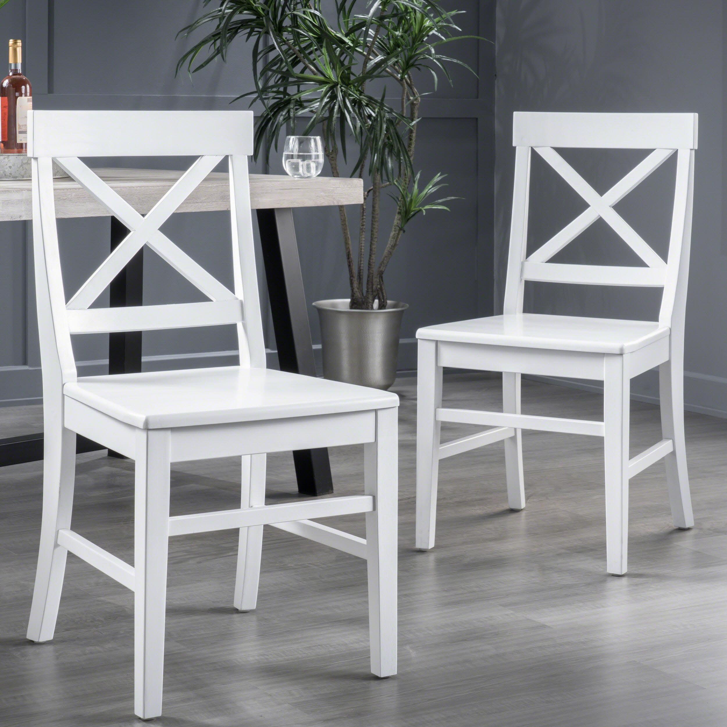 Noble House Roseann Farmhouse Finish Acacia Wood Dining Chairs White Walmart Com Walmart Com