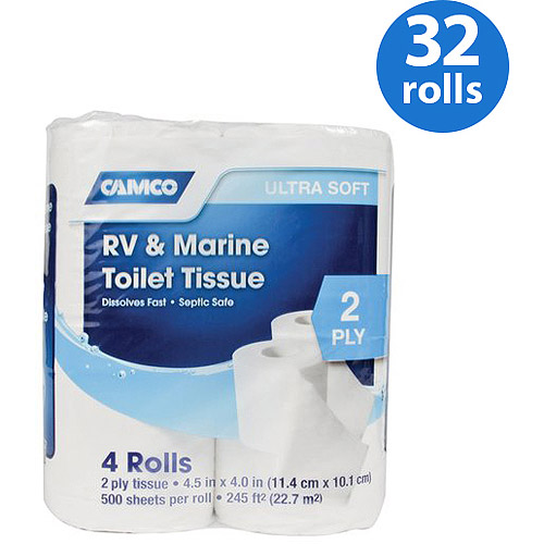 Camco RV & Marine 2-ply Toilet Tissue 32 Rolls Total (Eight 4-packs)