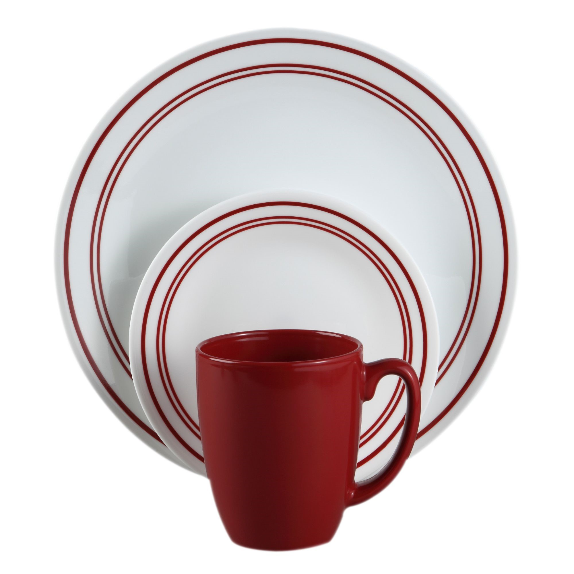 Corelle LivingWare Ceramic Dinnerware Set (18 Pieces), Red