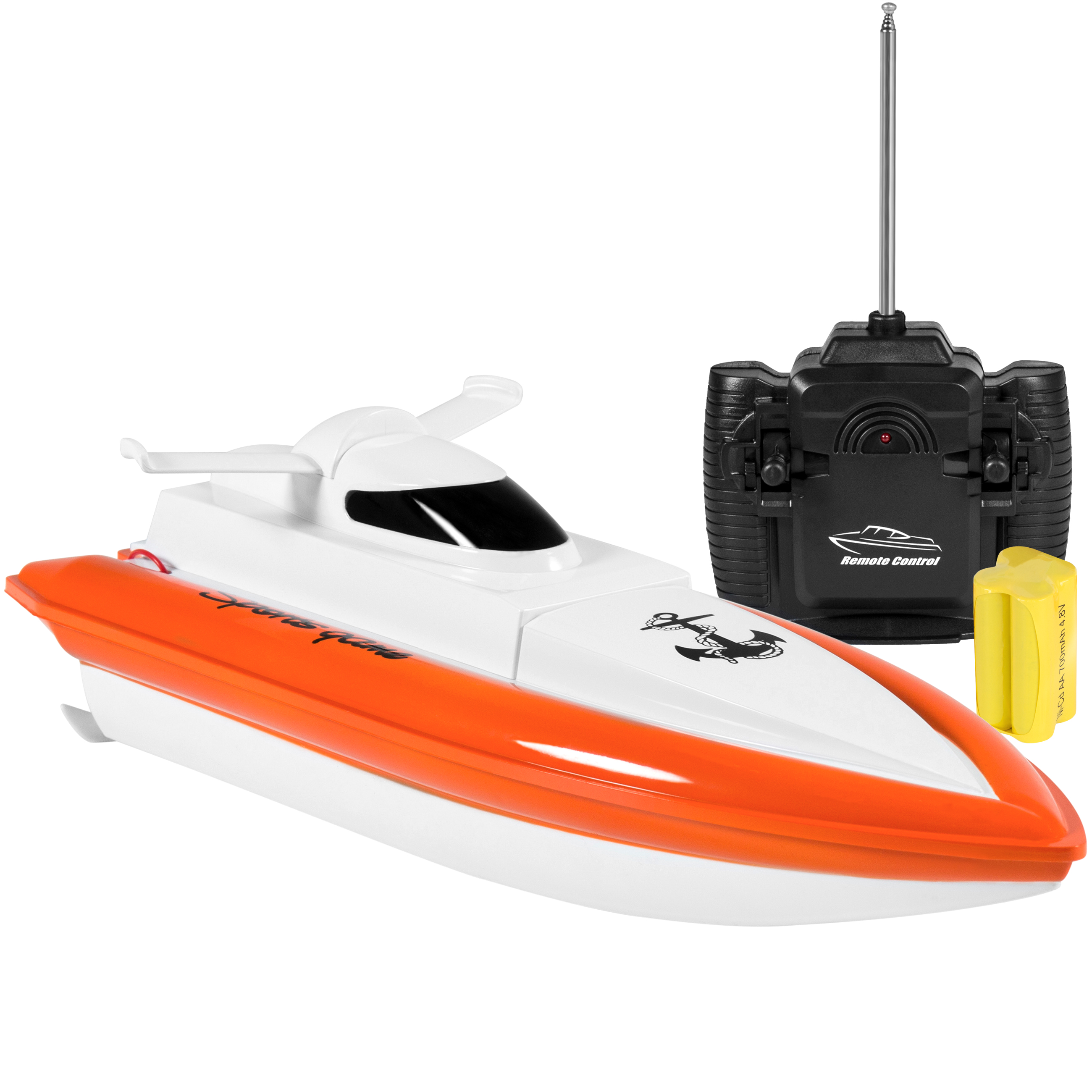 Best Choice Products 27MHz High-Speed Battery Powered Remote Control Electric Racing Water RC Boat Toy w/ UL Charger, 2 Motors - White/Orange