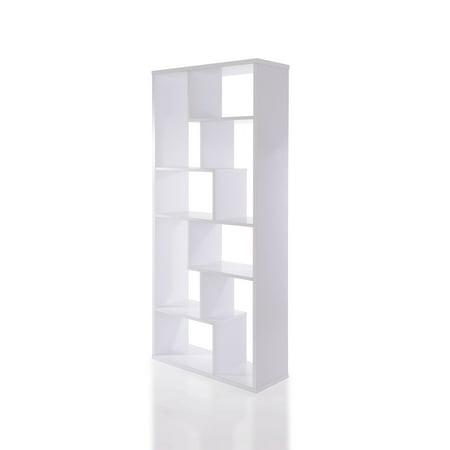 32u0022 X 12u0022 X 71u0022 White Veneer Cube Bookcase