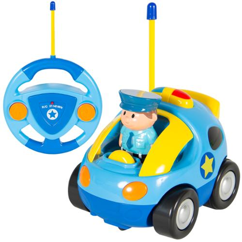 2 Channel Beginners Kids Remote Control Cartoon Police Car Perfect Gift