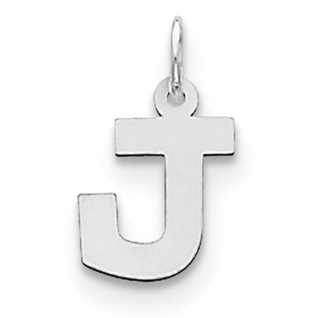 Sterling Silver Rhodium-plated Small Block Initial J Charm QC5093J