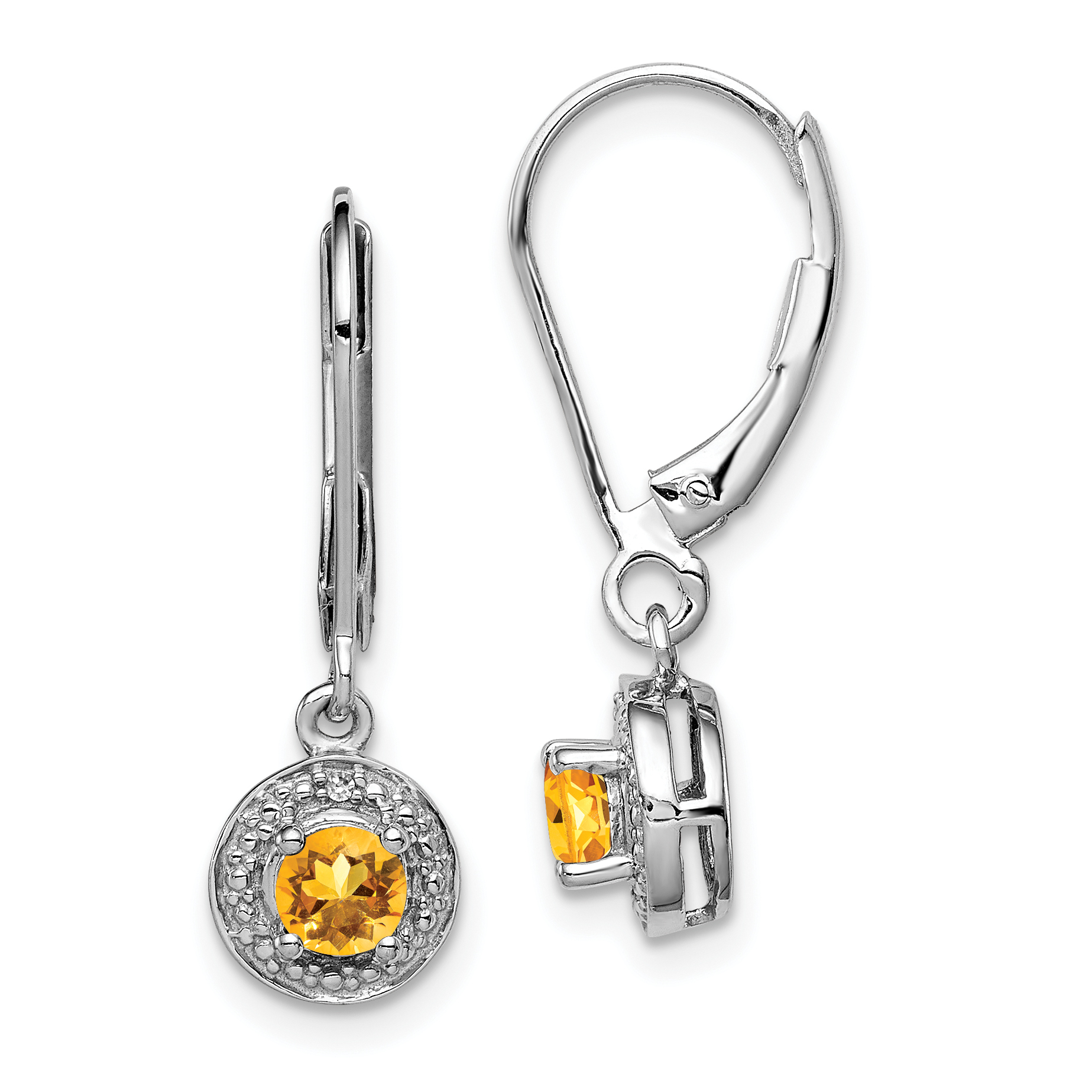 925 Sterling Silver Diamond Yellow Citrine Leverback Earrings Lever Back Set Drop Dangle Birthstone November Fine Jewelry Gifts For Women For Her - image 4 of 4