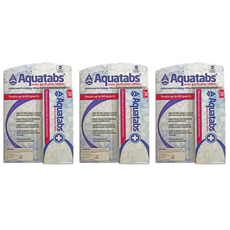 Aquatab's water Purification Tablets 3 30 packs- 90 Total US EPA Approved drinking water (Steripen Water Purification)