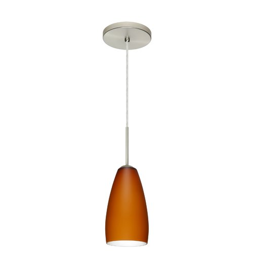 Besa Lighting 1BT-150980 Chrissy 1 Light Cord-Hung Mini Pendant with Amber Matte