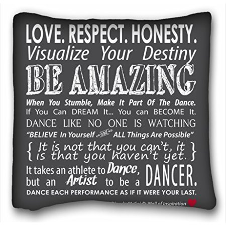 RYLABLUE Carries Inspirational Dance Quotes Pillow Black Pillow Fashion Home Decorative Pillowcase Pillow Cover Size 20x20 inches Two Side Print - image 1 of 1