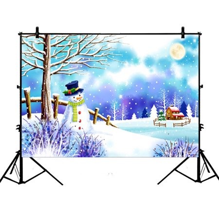 YKCG 7x5ft Christmas Snowman under Tree Winter Snow Scene Photography Backdrops Polyester Photography Props Studio Photo Booth Props