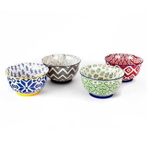 4 Pcs. High Quality Large 6 Inch Porcelain Cereal Soup Pasta Bowl Set by