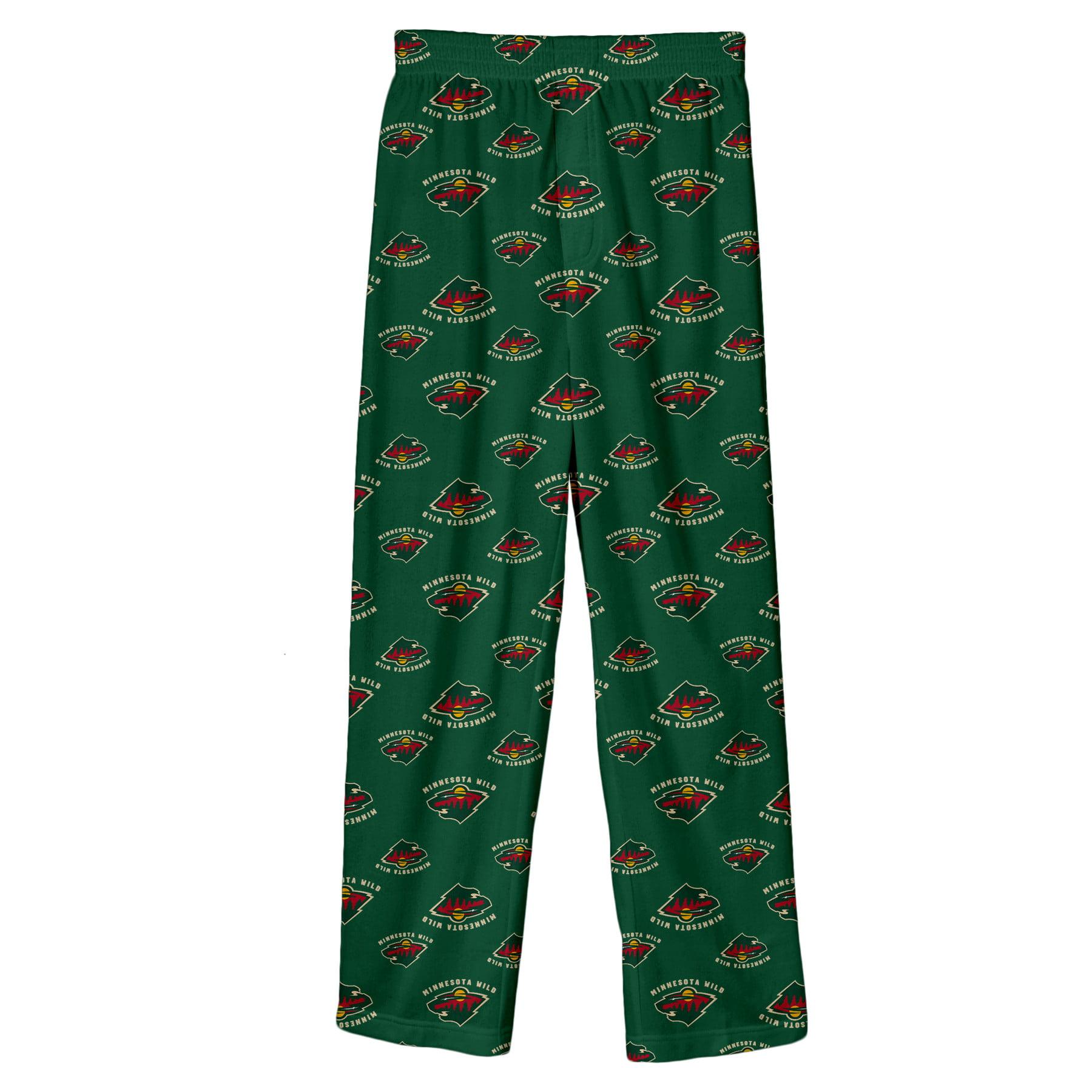 Minnesota Wild Youth Team Logo Printed Pajama Pants - Green