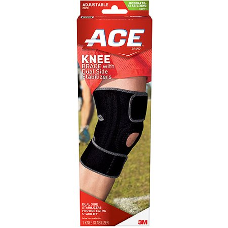 Ace Knee Brace With Dual Side Stabilizers And Comfort Fit Sleeve To Help Reduce Knee Irritation  Black Gray