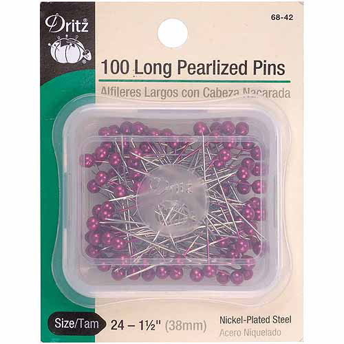 Dritz Long Pearlized Pins, Size 24