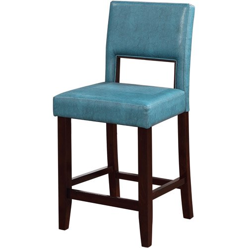 Linon Vega Counter Stool Agean Blue 24 Inch Seat Height
