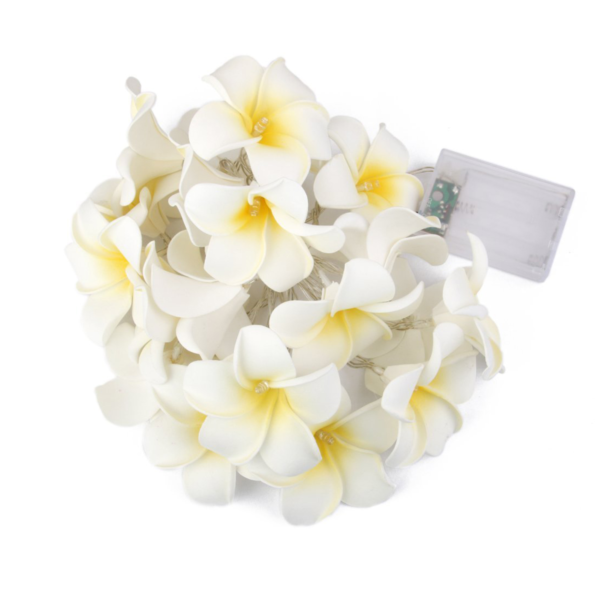 Click here to buy 20pcs Egg Flower Lamp Battery Powered White Plumeria Flower String Lamp String (Warm....