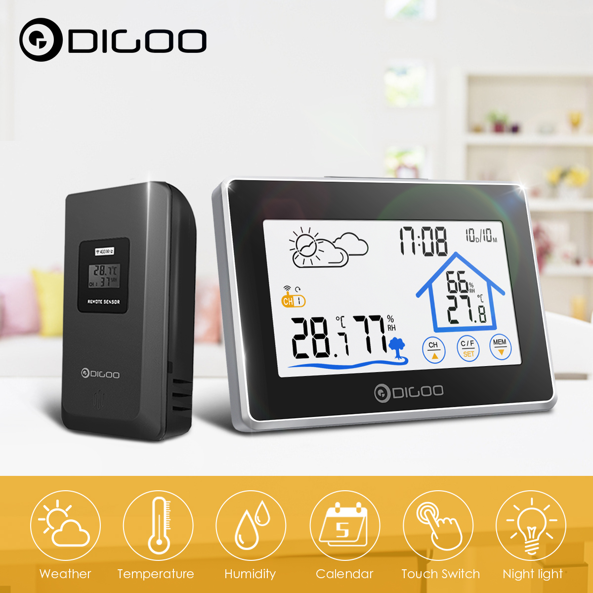 In//Outdoor Wireless Weather Station Clock Digital LCD Calendar Humidity+Sensor