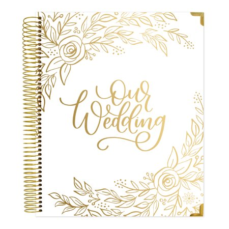 Undated Wedding Planner & Organizer, Gold Floral - bloom daily