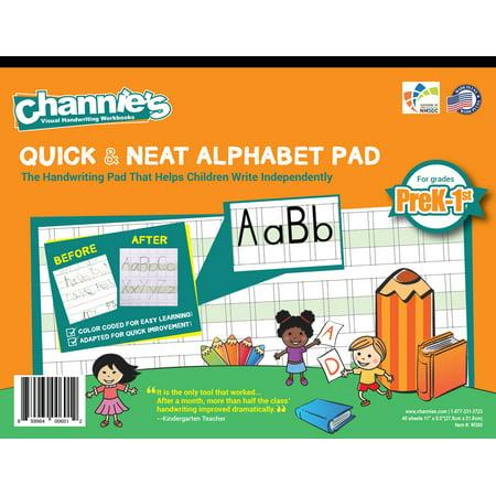 Channie's Quick & Neat Alphabet handwriting workbook for Prek, kindergarten, 1st grade. Alphabet workbook worksheet