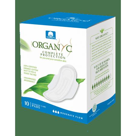 Organyc 100% Certified Organic Cotton Feminine Pads, Moderate Flow, 10 Count (Feminine Superheroes)