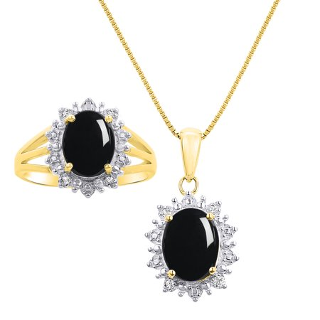 Princess Diana Inspired Halo Diamond & Onyx Matching Pendant Necklace and Ring Set In 14K Yellow Gold with 18