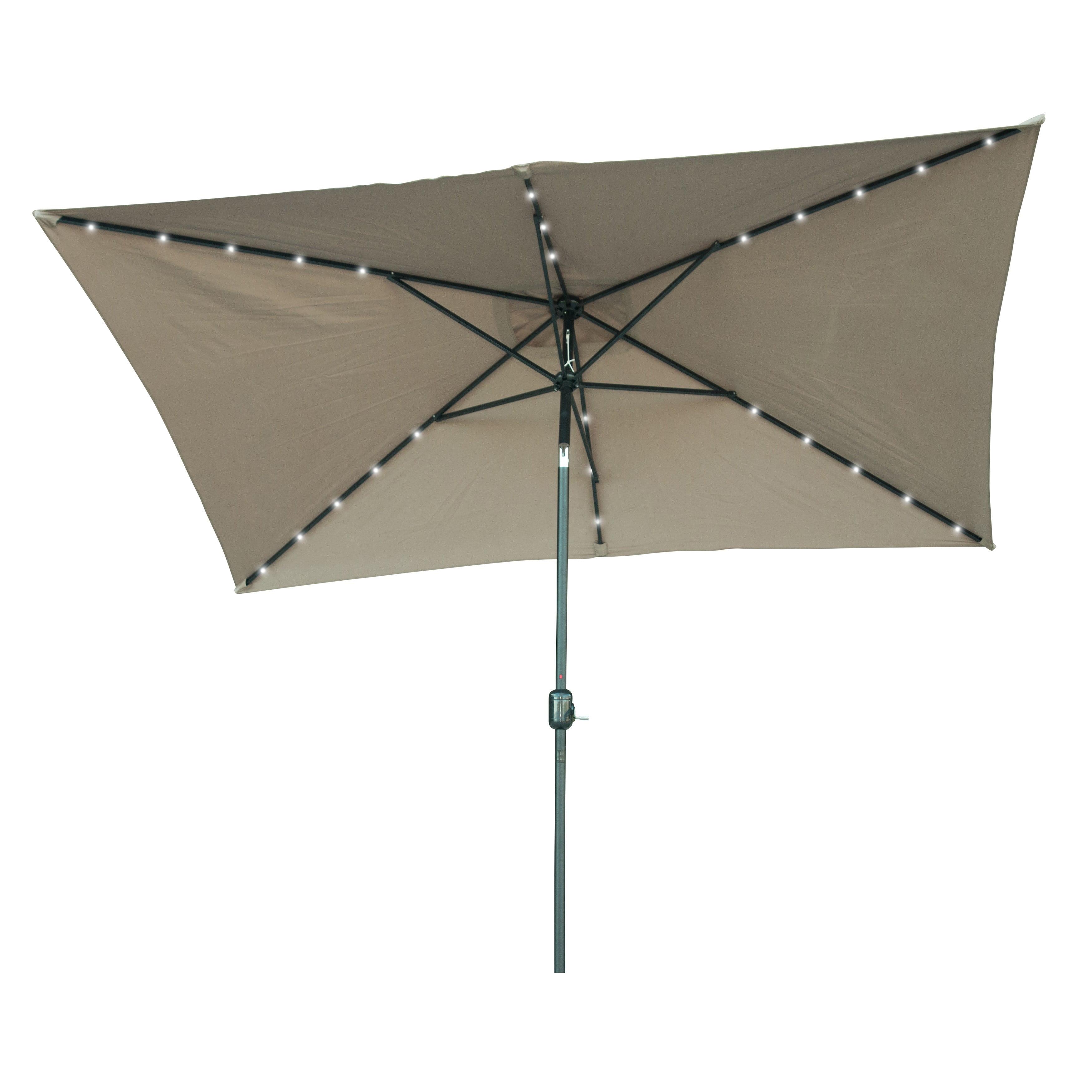 Rectangular Solar Ed Led Lighted Patio Umbrella 10 X 6 5 By Trademark Innovations Tan