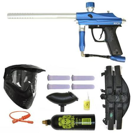 Azodin Kaos Paintball Marker Gun 3Skull 4+1 Mega Set - Blue/Silver