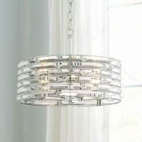 "Possini Euro Design Possini Euro Ebbets 18 1/4"" Wide Chrome Round Pendant Light"