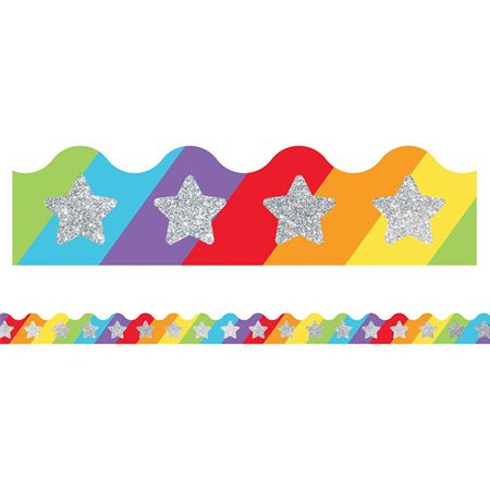 Sparkle & Shine Scalloped Glitter Star on Rainbow Border Rainbow Star Sparkle