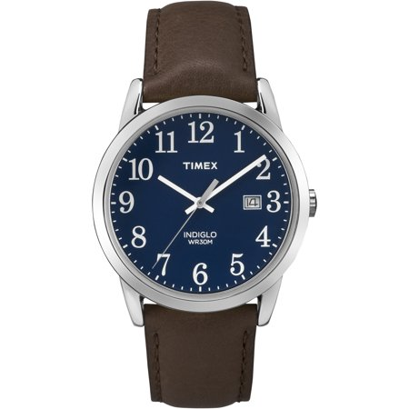 Dial Lizard Strap - Timex Men's Easy Reader Blue Dial Watch, Brown Leather Strap
