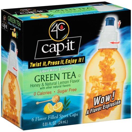 4C Cap It Honey & Natural Lemon Flavor Green Tea Liquid Water Enhancer, 6 count, 0.81 fl oz
